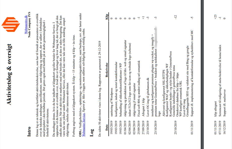 eksempel af en gennemsigtig månedlig Webmaster Service rapport
