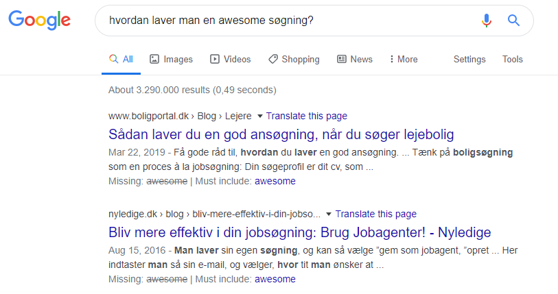 Googles søgemaskineresultatside